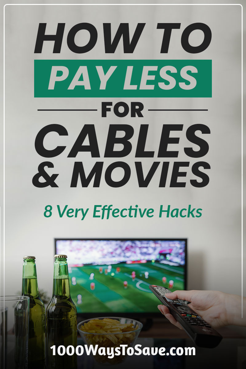 Don't get ripped off by the cable companies and movie theaters. Here's how to pay less for cable and movies using 8 solid tricks that will save you money! #MoneySavingTips #1000WaysToSave